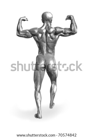 Illustration of a chrome man with muscular body - stock photo