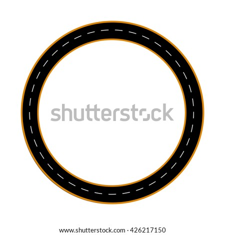 illustration of a circular road path isolated on white background