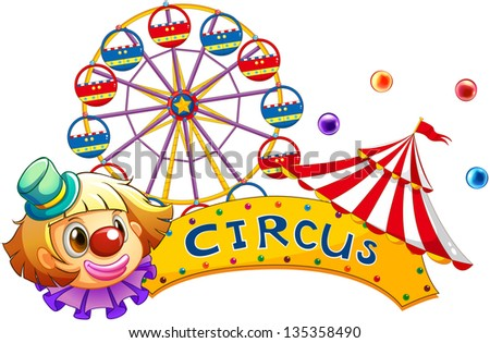 Illustration of a circus signboard on a white background - stock photo