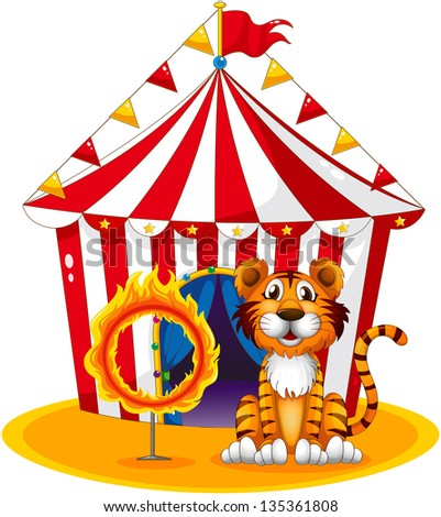 Illustration of a circus tent at the back of the tiger and the ring of fire on a white background