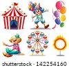 Illustration of a circus tent, clowns, ferris wheel, balloons and a ring of fire on a white background - stock vector