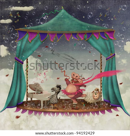 Illustration of a circus with tent and various characters - stock photo