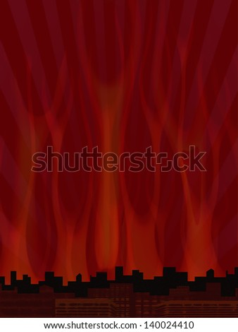 Illustration of a city in flames - stock photo