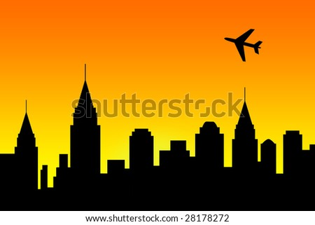 Illustration of a city skyline with an airplane over the buildings - stock photo