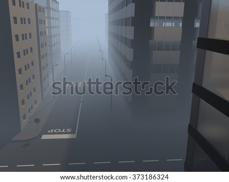 Illustration of a city street in the mist - stock photo