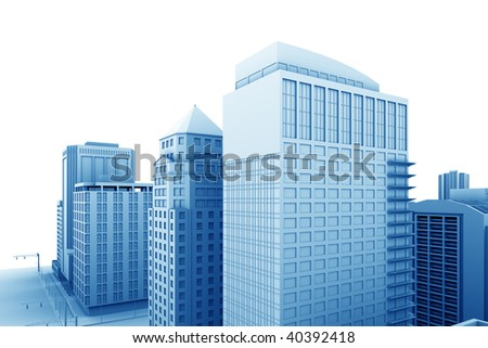 Illustration of a city, with blank area for your own text or design.