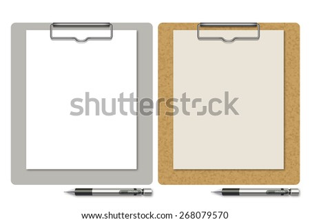 Illustration of a clipboard and mechanical pencil. / The clipboard of the cork pattern and a medical clipboard. There is copy space on the paper.