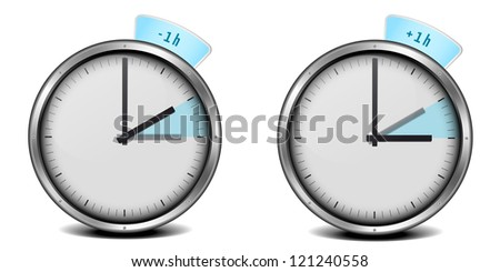 illustration of a clock with daylight saving time 1h - stock photo