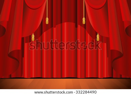 illustration of a closed red stage curtain as a background - stock photo