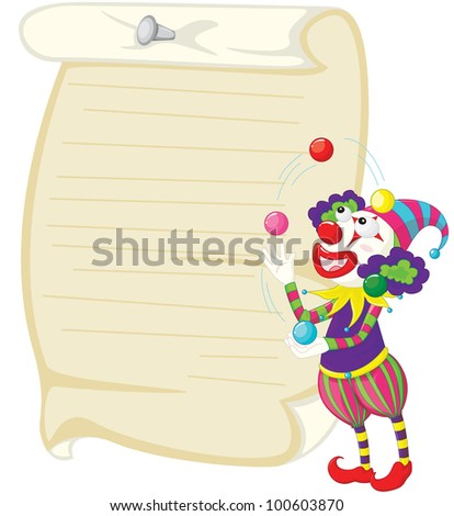 Illustration of a clown and paper - EPS VECTOR format also available in my portfolio. - stock photo