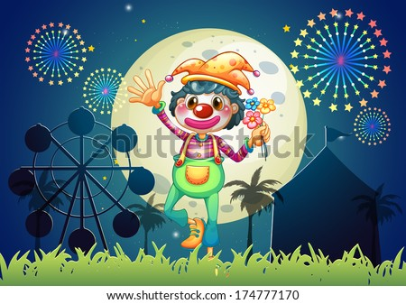 Illustration of a clown at the amusement park - stock photo
