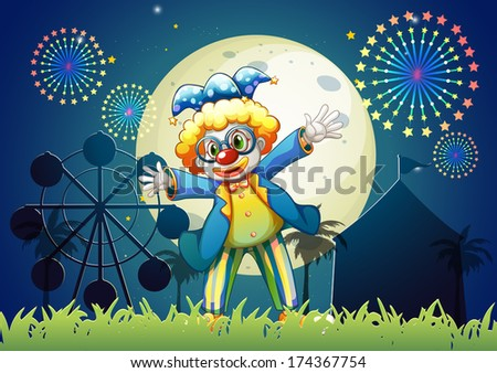 Illustration of a clown at the carnival - stock photo