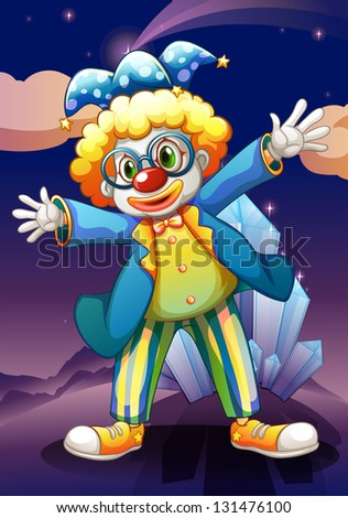 Illustration of a clown in the middle of the night - stock photo