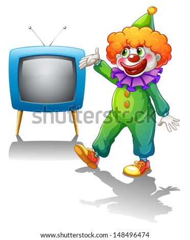 Illustration of a clown standing in front of a television  on a white background