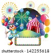 Illustration of a clown with balloons near the empty signage on a white background - stock vector