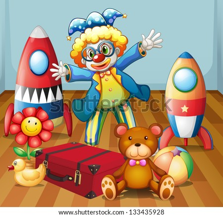 Illustration of a clown with many toys - stock photo