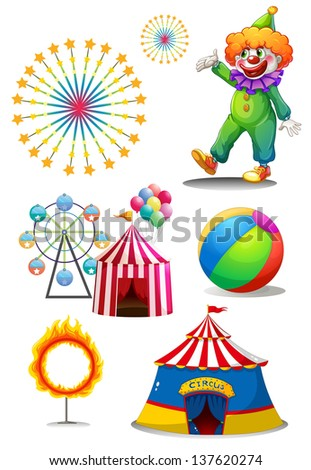 Illustration of a clown with the different things in a carnival on a white background - stock photo