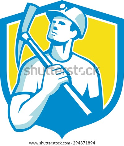 Illustration of a coal miner wearing hardhat holding pick axe on shoulder looking up to the side set inside shield crest on isolated background done in retro style.