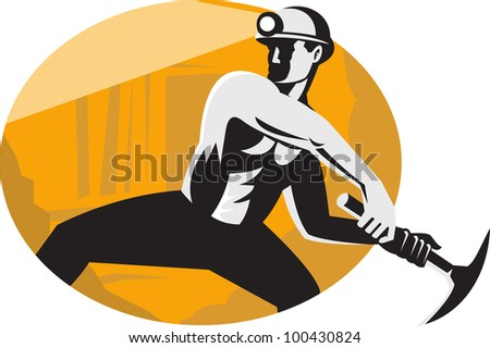 Illustration of a coal miner worker with pick ax viewed from the side striking done in retro style.