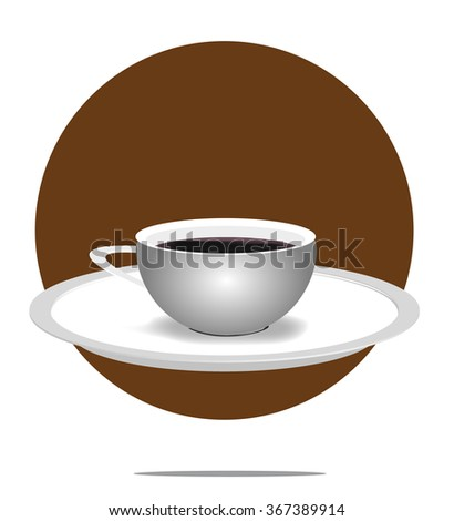 Illustration of a coffee cup with brown circle background - stock photo