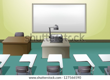 Illustration of a  college classroom - stock photo