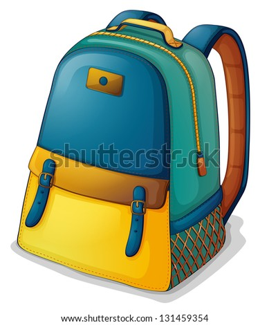Illustration of a colorful back pack on a white background