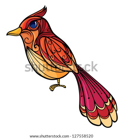Illustration of a colorful bird on a white background - stock photo