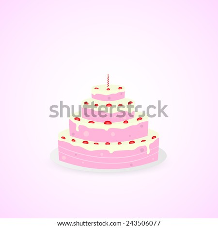 Illustration of a colorful birthday cake isolated on a colorful background.