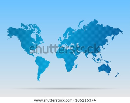 Illustration of a colorful blue world map. - stock photo