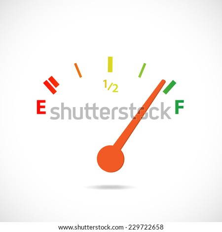 Illustration of a colorful gas gage design isolated on a white background. - stock photo