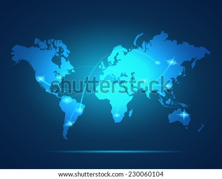 Illustration of a colorful glowing world map background.