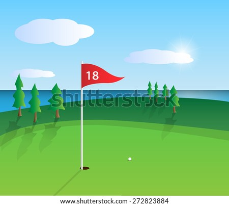 Illustration of a colorful golf course design. - stock photo