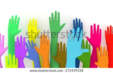 Illustration of a colorful group of raised hands - stock photo
