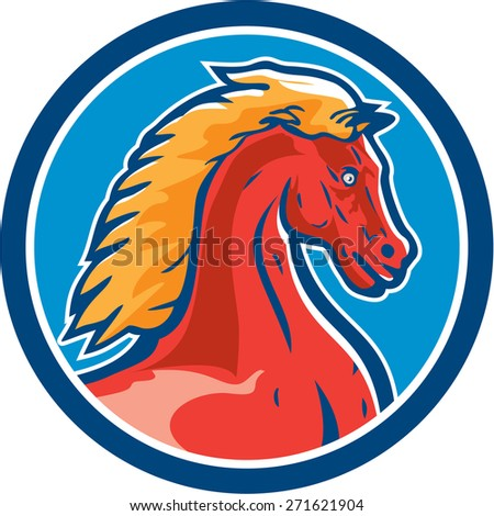 Illustration of a colt horse head viewed from the side set inside circle on isolated background done in retro style.