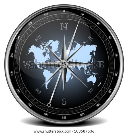 illustration of a compass with blue color scheme