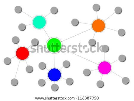 Illustration of a complex network with different clusters. - stock photo