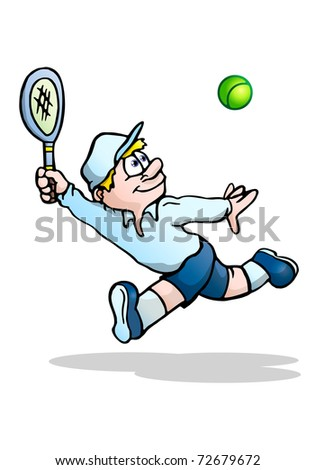 illustration of a concentrated tennis player ready to  hits the tennis ball on isolated white background - stock photo