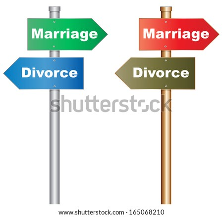 Illustration of  a conceptual signboard about a tough decision about marriage and divorce.