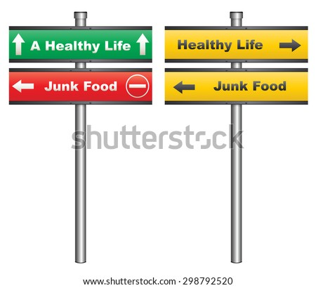 Illustration of a conceptual signboard about healthy eating - stock photo