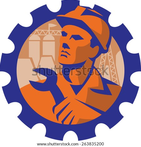 Illustration of a construction engineer worker mechanic wearing hardhat holding wrench spanner with pylon and buildings in background set inside mechanical gear cog done in  retro style. - stock photo