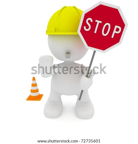 Illustration of a construction worker motioning to stop.  Part of my cute little people series.