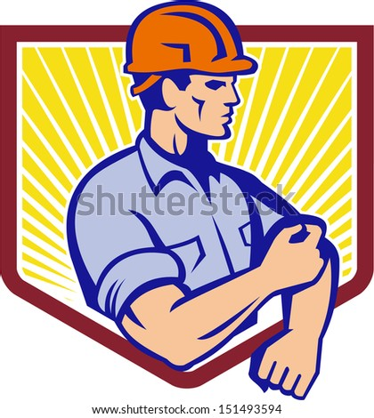 Illustration of a construction worker wearing hardhat rolling up sleeve facing side set inside shield done in retro style