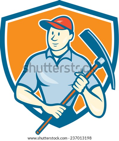 Illustration of a construction worker wearing hat holding pickaxe set inside shield crest on isolated background done in cartoon style.
