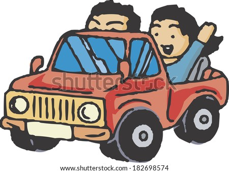 Illustration of a couple driving around in a car