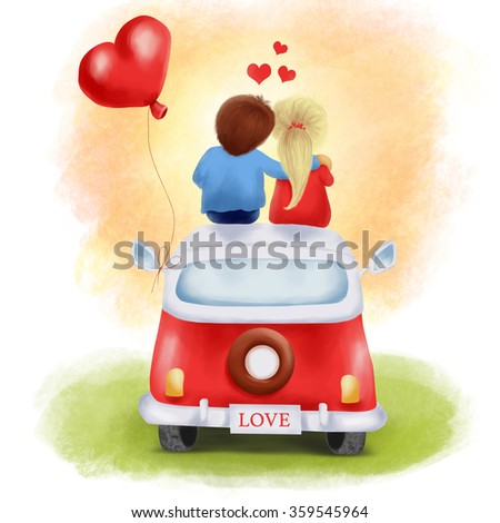 Illustration of a couple in love sitting on the roof of the car and looking at the sunset. - stock photo
