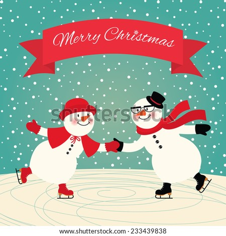 Illustration of a couple in love snowmen skating/Snowmen Ice skating/Two snowmen skate holding hands - stock photo