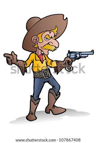 illustration of a cowboy hold gun in prairie - stock photo