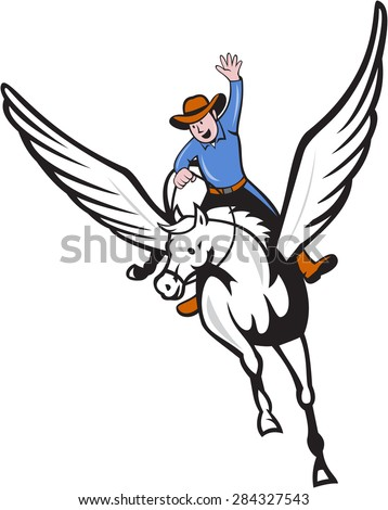 Illustration of a cowboy with arm raised riding pegasus flying horse set on isolated white background done in cartoon style.