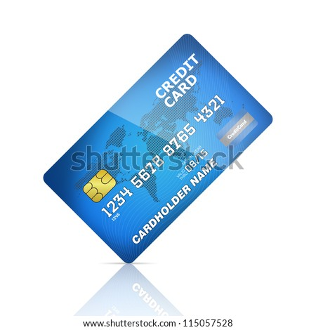 illustration of a credit card isolated on white background. Rotating 45 degree - stock photo