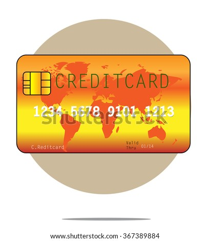 Illustration of a creditcard with circle background - stock photo